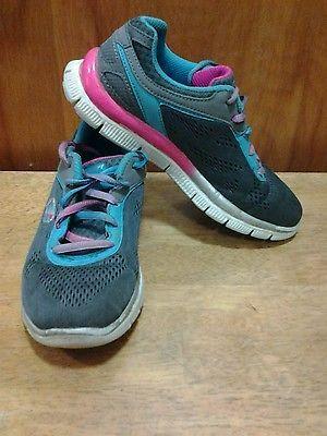 0f60e2992838 Skechers-SKECH-KNIT-youth-girls-Size-2-sn-81899L-Grey-Blue-Pink ...