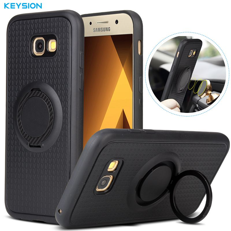 Keysion Case For Samsung Galaxy A5 2017 A520 Car Holder Stand Magnetic Suction Bracket Finger Ring Soft Tpu Cover For A520f Samsung Galaxy Car Holder Samsung