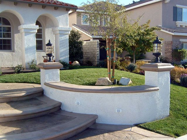 Patterned Concrete Steps Stucco Retaining Walls Walls Pilasters Options Seat Garden Walls As Shown A Wall Seating Retaining Wall Landscaping Retaining Walls