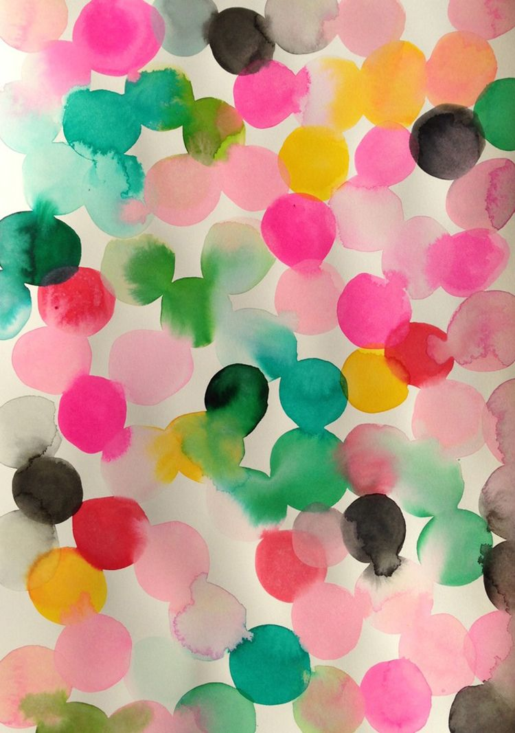 Watercolor Painting Emerald Saffron Hot Pink And Black Dot