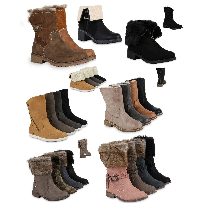 Schnürstiefeletten Damen Warm Gefütterte Stiefeletten Stiefel 813135 Trendy Neu