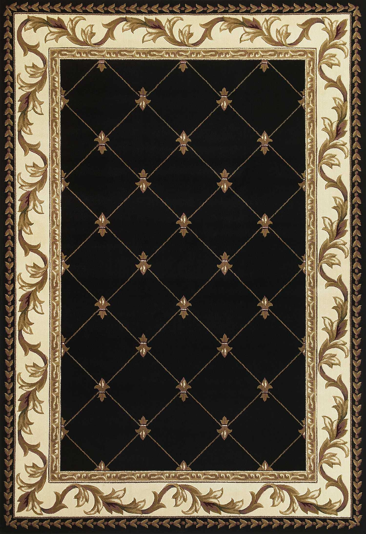 5 X 8 Black Fleur De Lis Diamond Bordered Indoor Area Rug In 2021 Kas Rugs Black Area Rugs Traditional Area Rugs Fleur de lis area rug