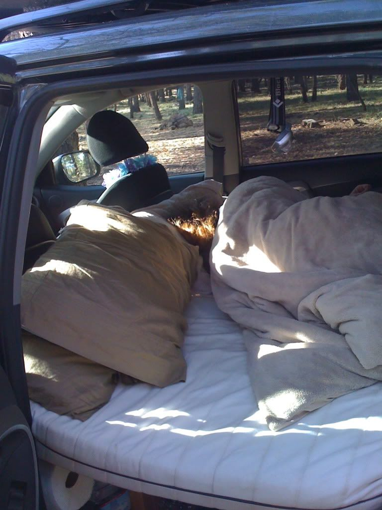 I do a lot of car camping and i my girlfriend and my dog all sleep inside the quite comfortably with all our gear