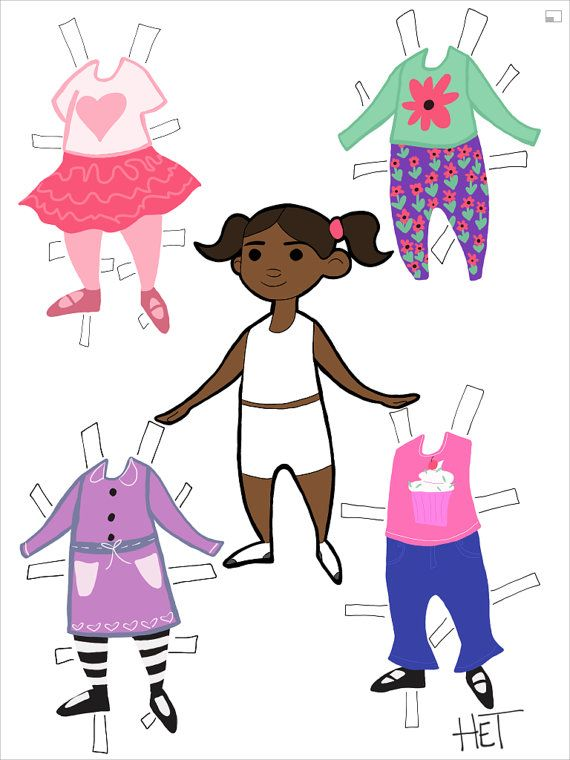 custom printable paper doll illustration little by chamomileart black african american person