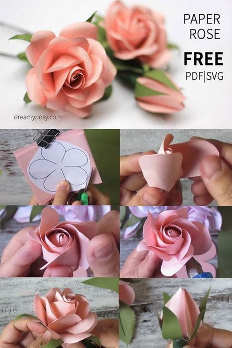 Einfaches Tutorial Zum Erstellen Einer Papierrose, Kostenlose Vorlage Paper Flowers Einfaches Tutorial zum Erstellen einer Papierrose, KOSTENLOSE Vorlage paper flowers Paper Crafts craft paper art