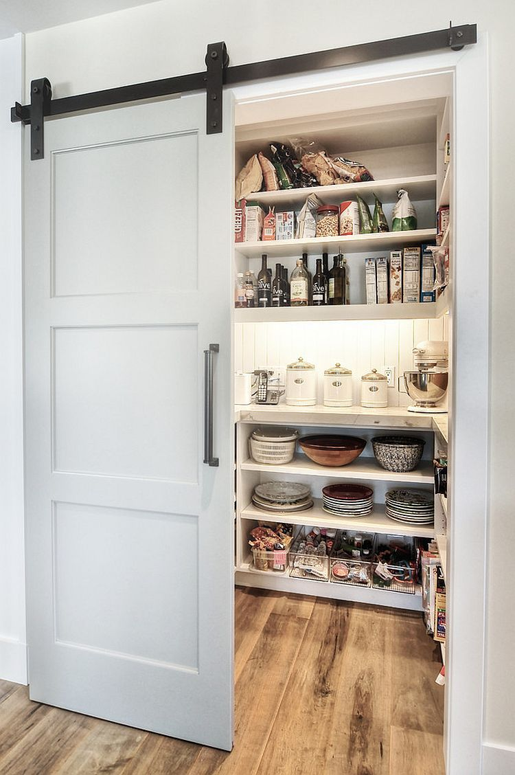 Modern Pantry Design With An Elegant Sliding Barn Door Dwellings Group
