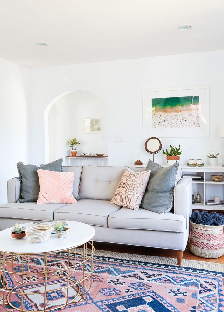 Living Room With Grown Up Pastels Pale Grey Sofa Patterned Rug At Home Local Lejos Founder Sheeva Sairafi