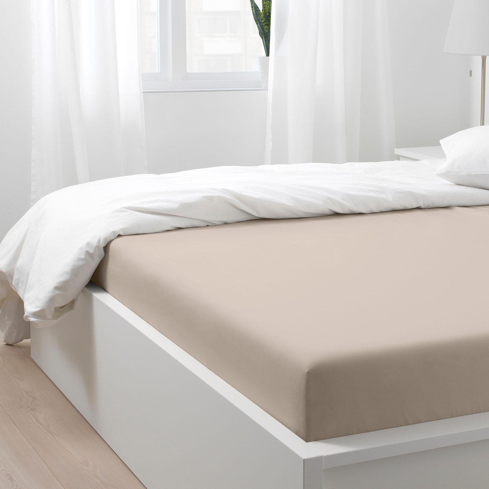 NATTJASMIN Fitted sheet, light beige, Queen IKEA in 2020