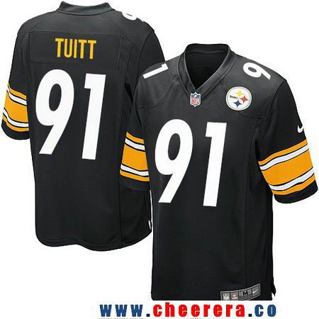 Men's Pittsburgh Steelers #91 Stephon Tuitt Black Team Color Stitched NFL Nike Game Jersey