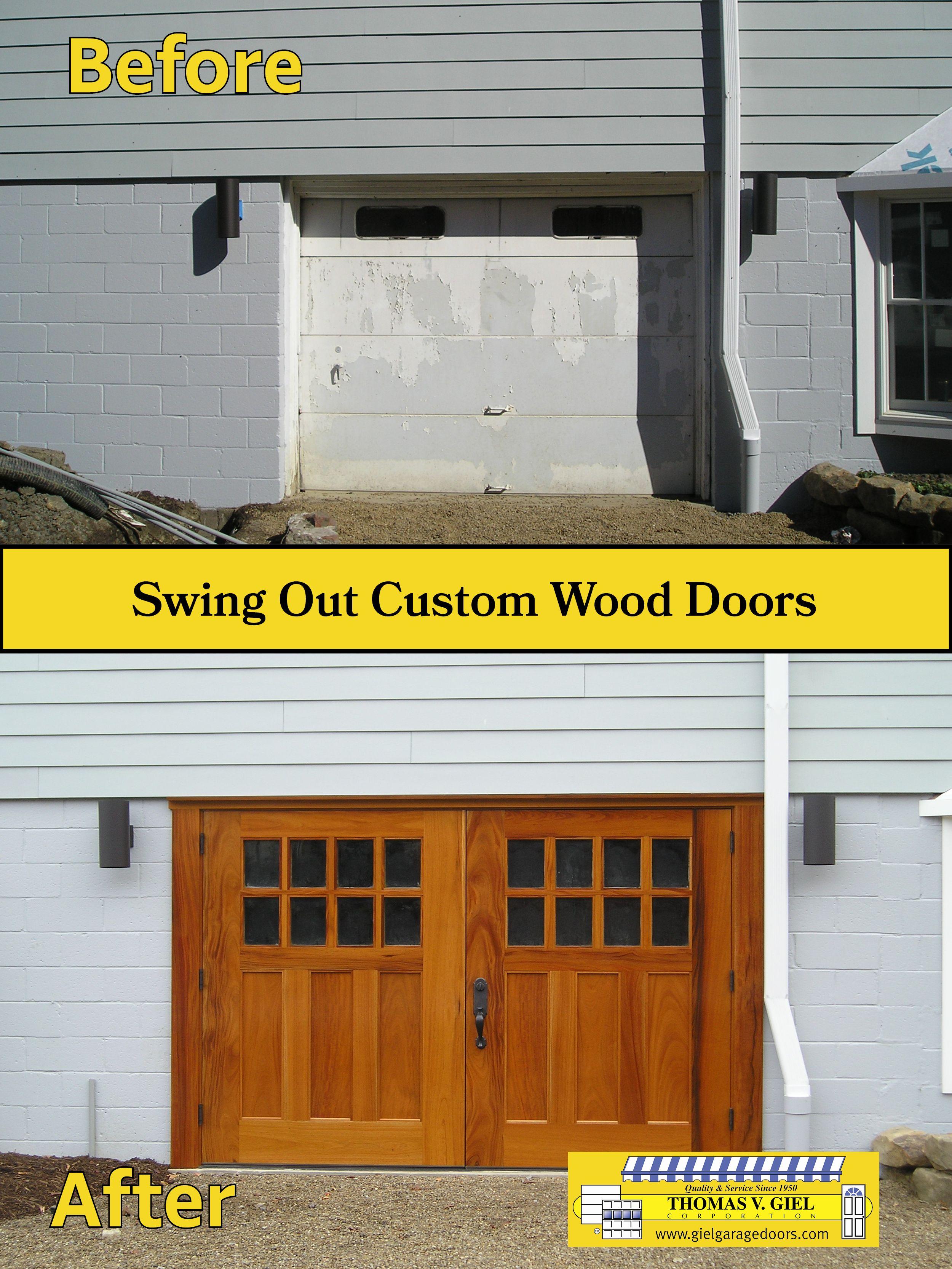 These Doors Open Out Instead Of Up Like A Typical Garage Door Garage Doors Doors Custom Wood Doors