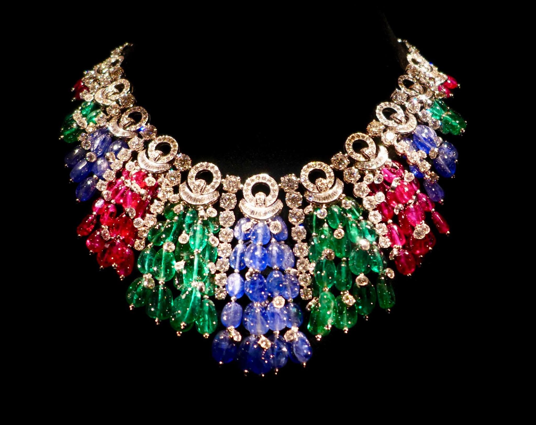 Bvlgari necklace created in 2011 comprising gold (white) emeralds, sapphires, rubies and diamonds. <3 D'Artagnan.