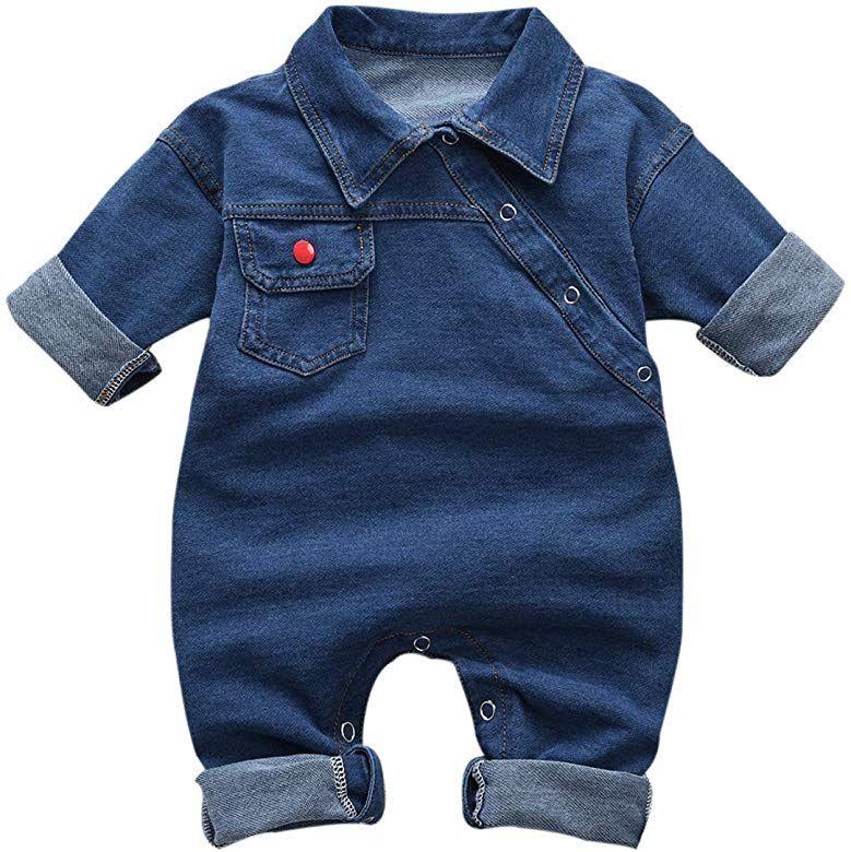 Baby M/ädchen Jumpsuit Halfter /Ärmel Denim Bodysuit Strampler Jeans Overalls