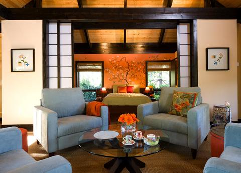 Asian Inspired Living Room And Bedroom; Designer: Kenneth Brown; HGTV Photo