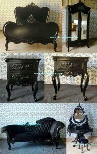 Camera da letto nero mobili dipinti Indonesia- camera da letto set ...