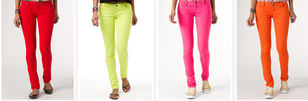 cute colorful skinny jeans