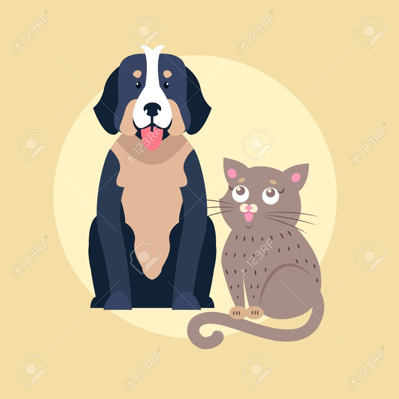 Cute Dog And Cat Cartoon Flat Vector Icon Sponsored Cat Dog