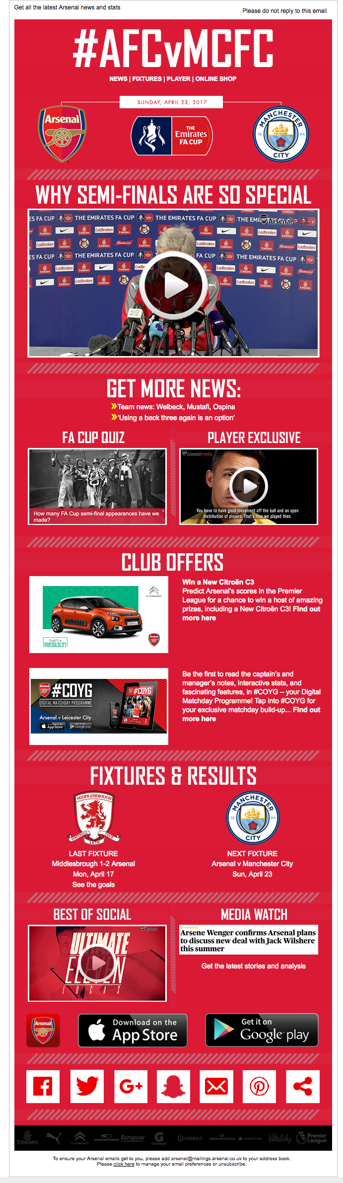 Newsletter Design From Arsenal Football Club Ori