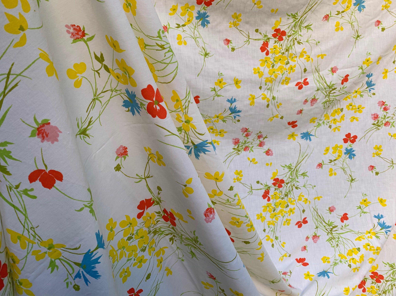 70's Fieldcrest Perfection Floral Double Size FLAT Sheet