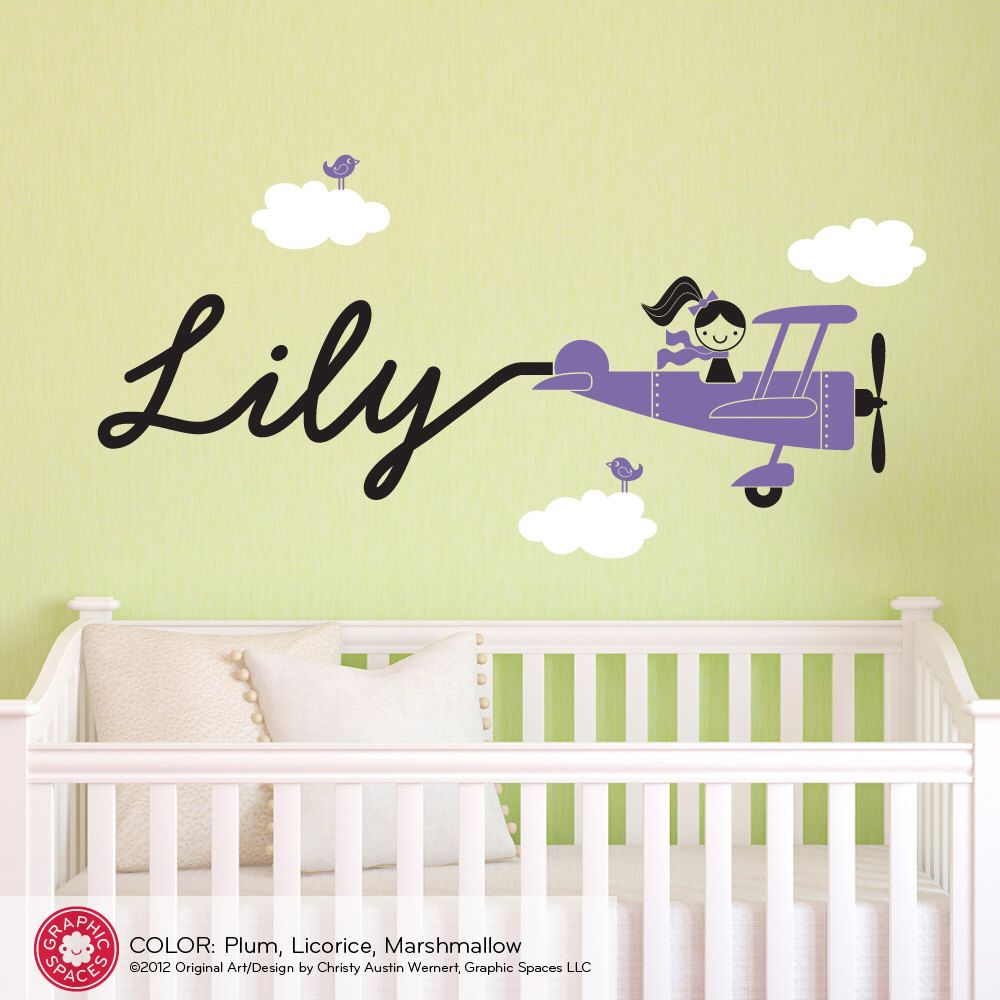 Airplane Girl Wall Decal Personalized Baby Girl Nursery Skywriter ...