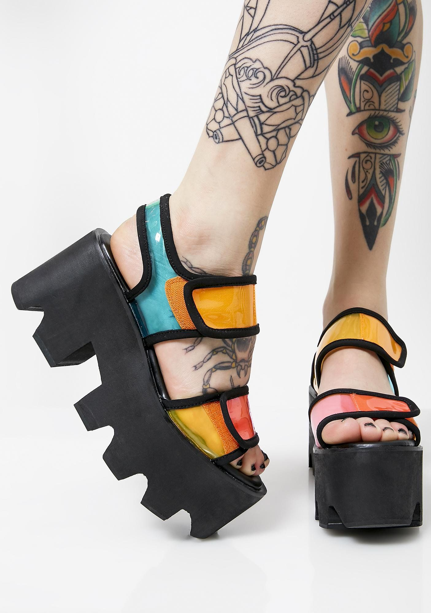 91edb40b5b7 Current Mood Mz. Prizim Vision Platforms will have  em trippin  ova ya.  Taste the rainbow in these clear N  colorful platform sandals that have  chunky thicc ...