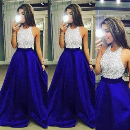 e77c60193d4 Mosunx Women Formal Prom Party Ball Gown Evening Bridesmaid Halter Long  Dresses L  weddingdresses