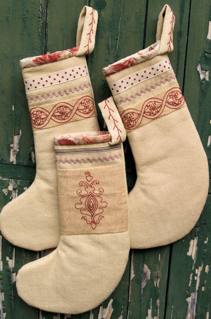 heirloom hand embroidered christmas stockings - Embroidered Stockings Christmas