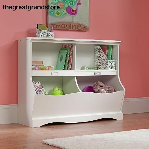 Childs Kids Bookcase Playroom Toy Box Organizer Storage Chest Wooden Bin Unit Sauder Kids Bookcase Kids Bedroom Furniture Sauder Bookcase
