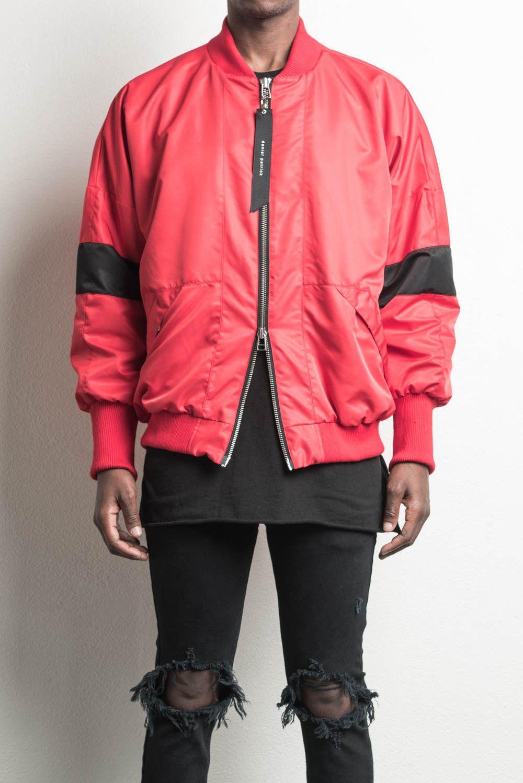 Hero Bomber V Red Black Mens Designer Streetwear Bomber Jacket Red Bomber Jacket Black And Red Streetwear Outfit [ 1498 x 1000 Pixel ]