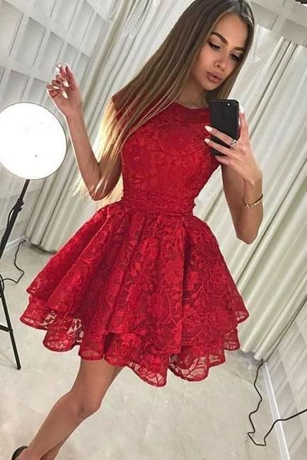 Cap Sleeve Red Lace Above Knee Scoop Homecoming Dr