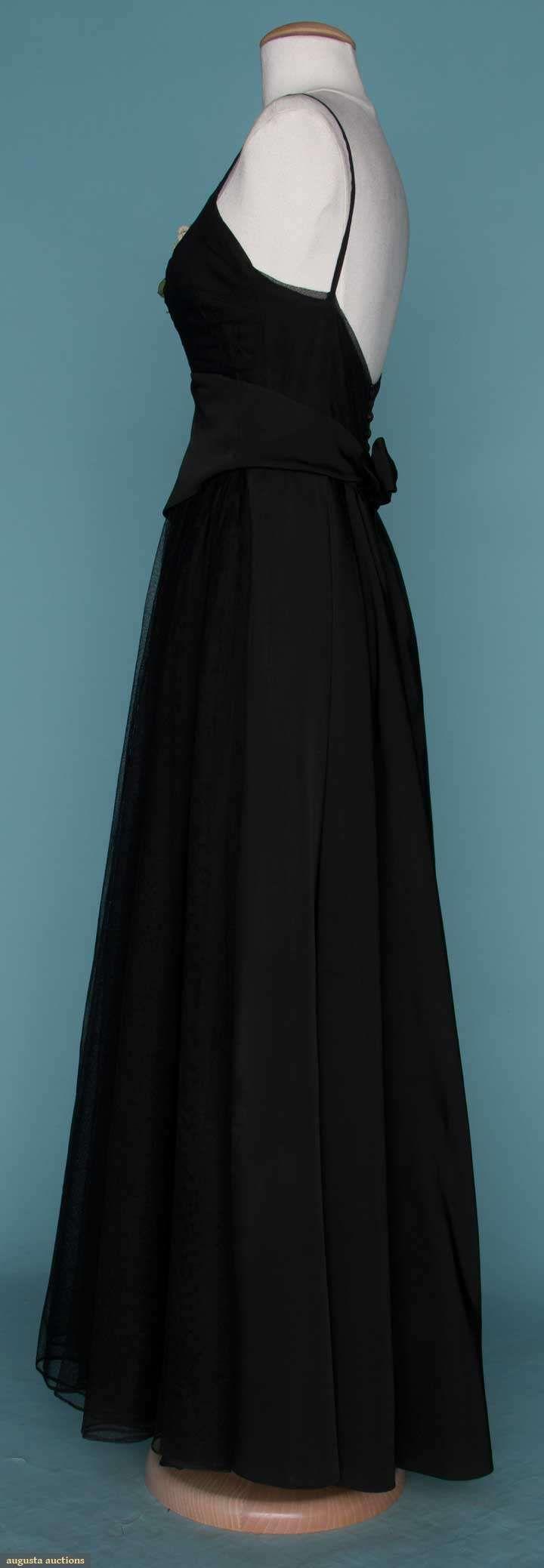 Black silk twill u net ball gown ca early s mainbocher
