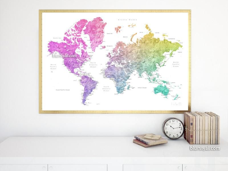 Printable watercolor world map with cities in colorful rainbow
