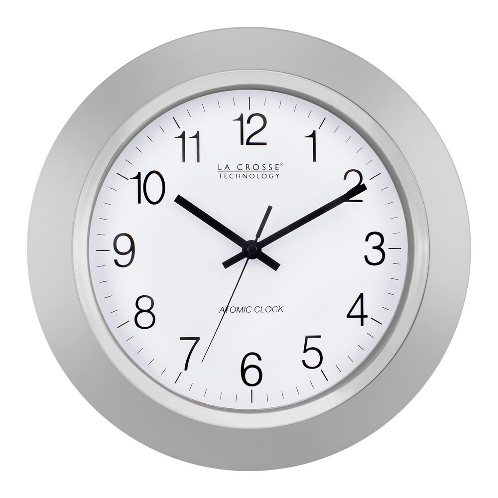 La Crosse Technology 14 In Atomic Analog Wall Clock Silver Silver Wall Clock Atomic Wall Clock Clock