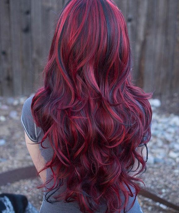 Lucy // Fiery Red Long Wavy Wig with Lowlights by LuxLoxs on Etsy