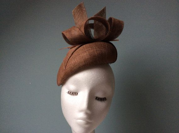 d4452ea7b567e Tan Fascinator Beret Hatinator with Arrow Feather. Materials  sinamay