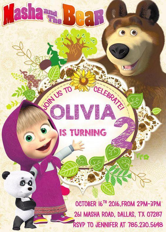 Masha y el oso de cumpleaños invitación por DigitalFactoryArt Proyectos que intentar Pinterest