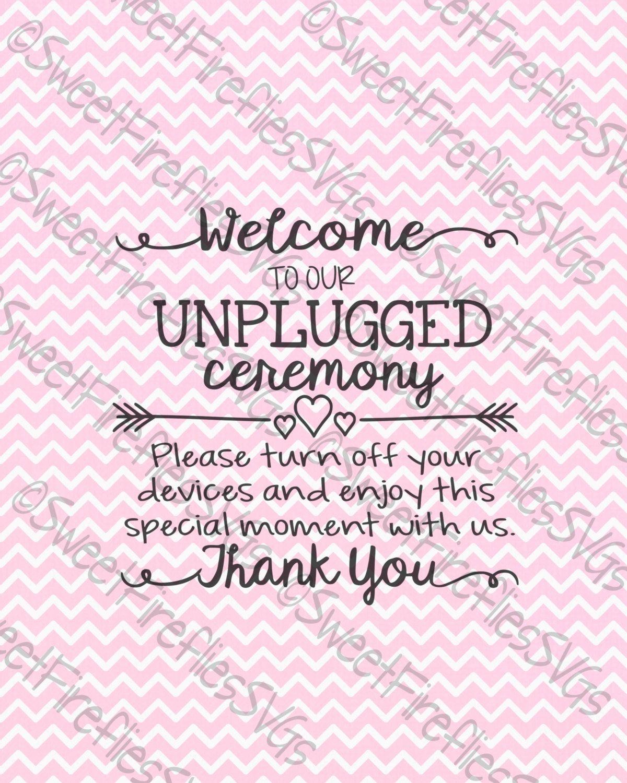 Wedding Svg Pdf Eps Dfx Unplugged Ceremony Sign For