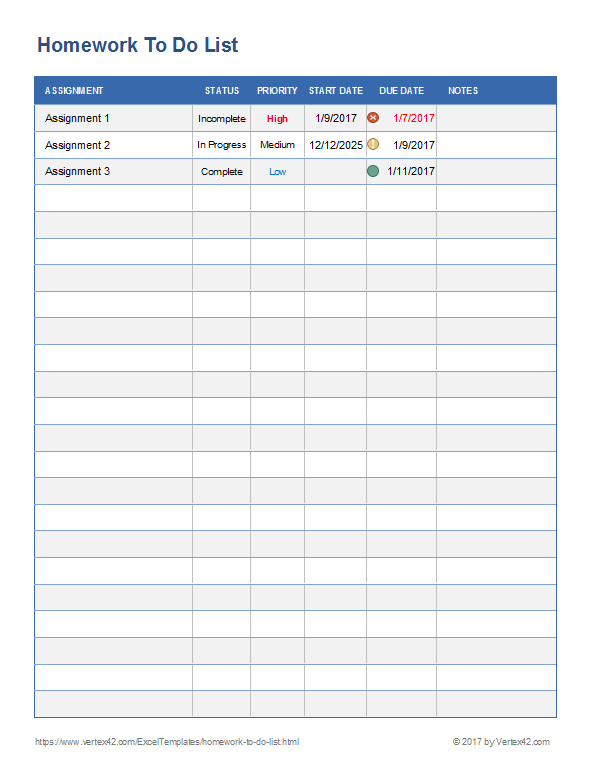 Download A Free Homework To Do List For Excel Or Use The Pdf