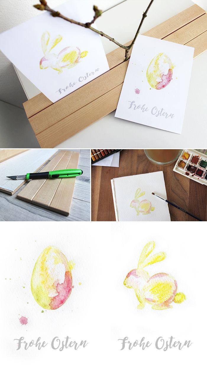 Do It Yourself Osterkarte Mit Aquarellfarben Zeichen
