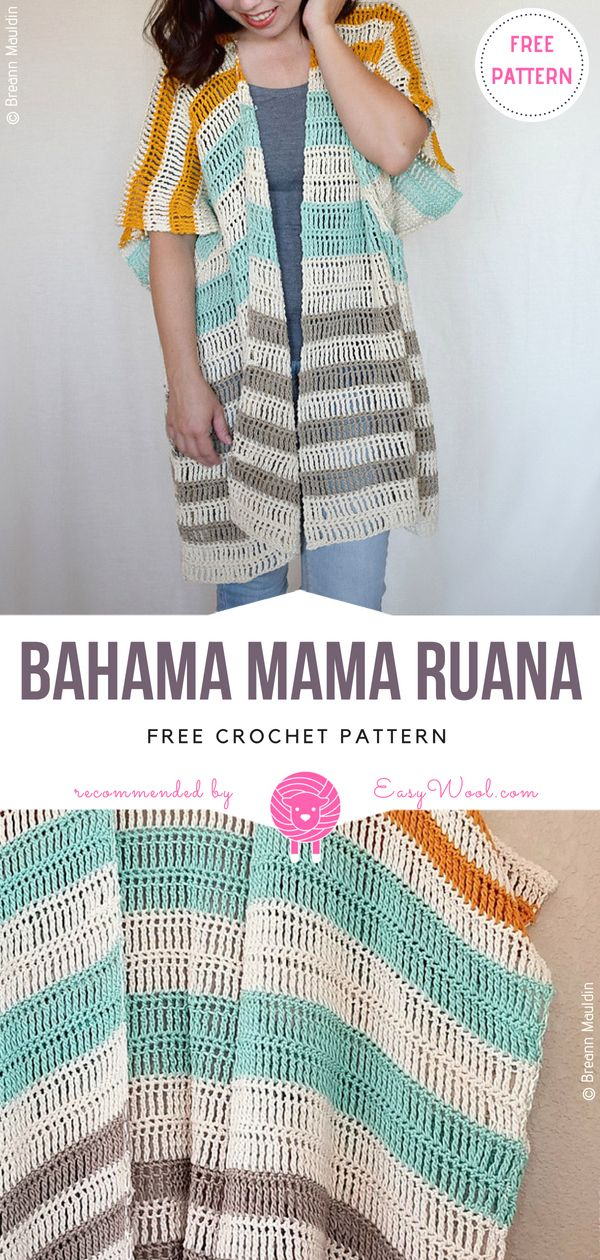 Bahama Mama Ruana Free Crochet Pattern on easywool.com | Proyectos ...