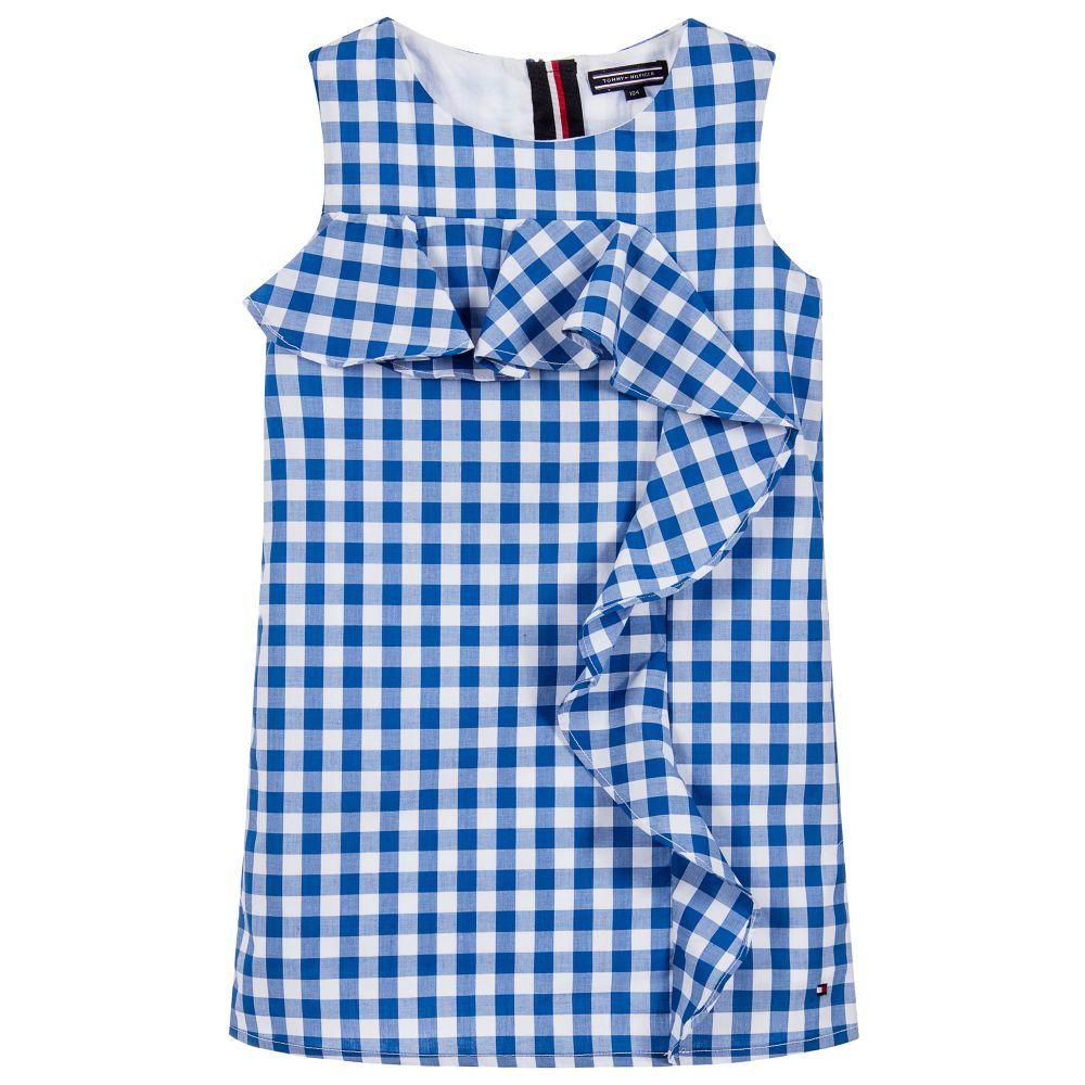 Tommy Hilfiger Blue Check Ruffle Dress Tommy hilfiger