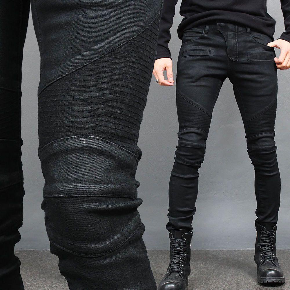Detalhes sobre Men's Super Slim Fit Black Wax Coated Seaming