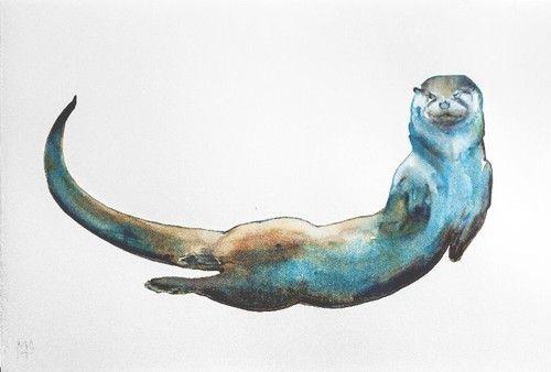 Otter by Mark Adlington watercolor | Ink Drawings | Pinterest ...