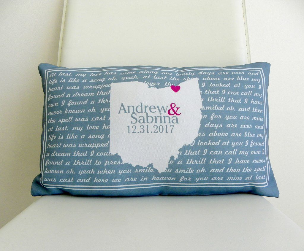 Song lyrics pillow unique wedding gift for couple map pillow