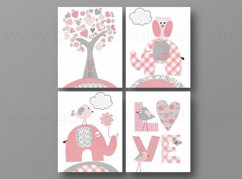 Lot de 4 illustrations pour chambre d\'enfant et bebe, gris, Rose ...