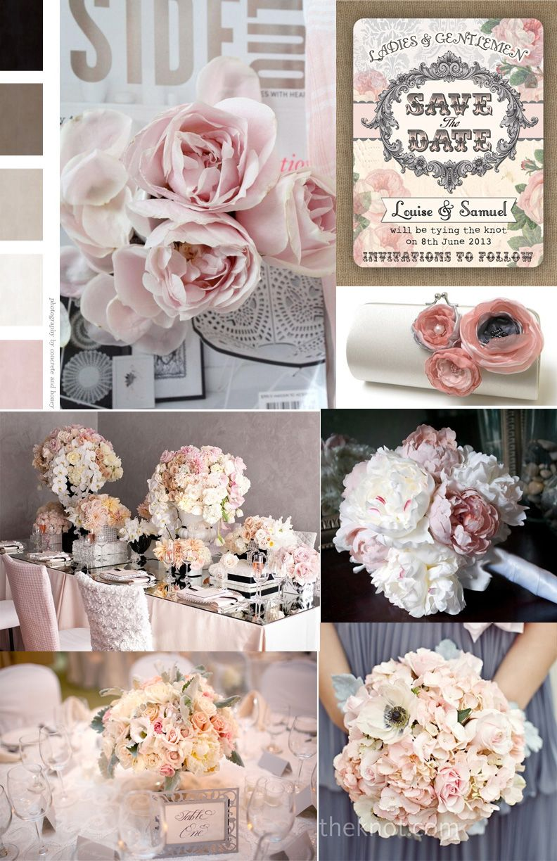Pink and Grey color palette for wedding board i\'ve been working on ...