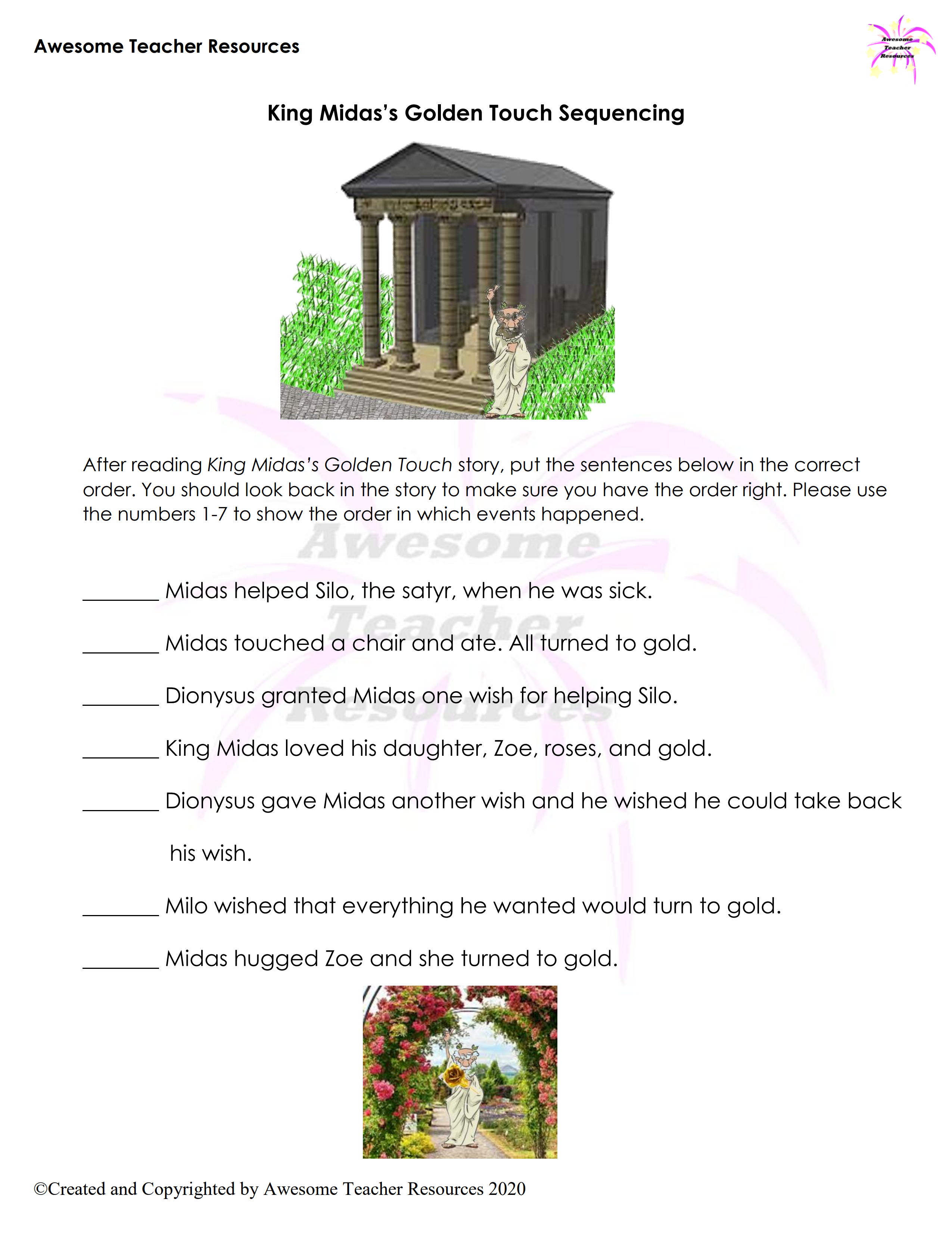 Midas S Golden Touch Sequencing Worksheet In