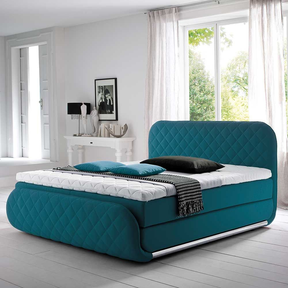 das boxspringbett in t rkis mit matratze 3 teilig ist ein absoluter hingucker f r ihr modern. Black Bedroom Furniture Sets. Home Design Ideas