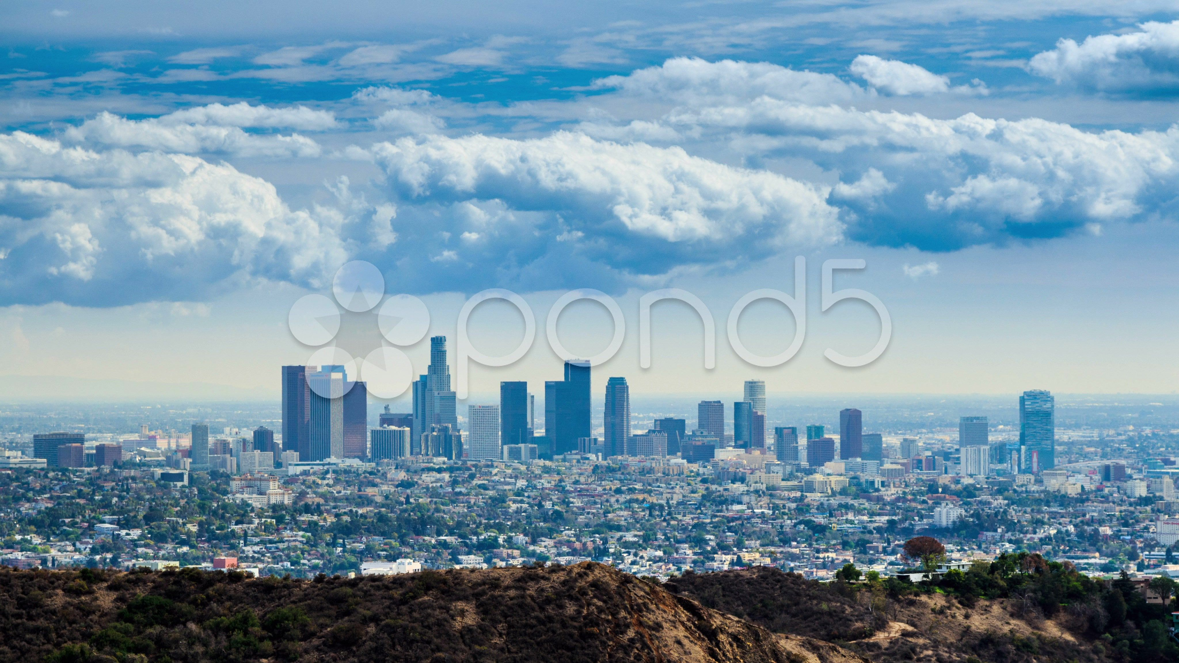 Beautiful Clouds Rolling Over Downtown Los Angeles City Skyline 4k Timelapse Stock Footage Downtown Los Rolling Beautif City Skyline Clouds Los Angeles City
