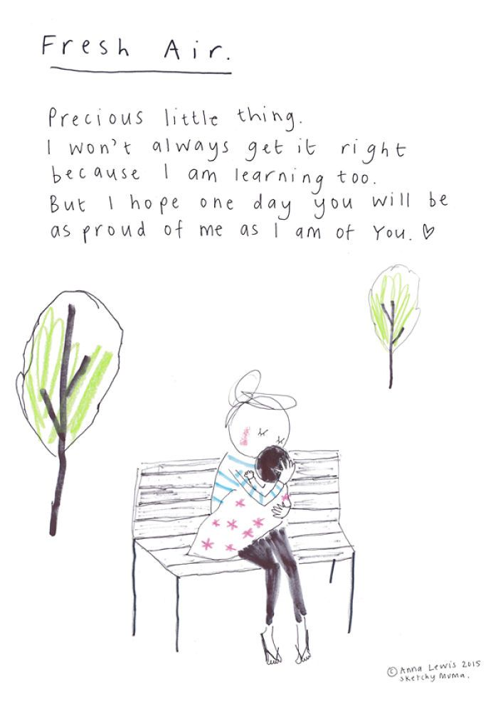 Fresh Air print from the popular Sketchy Muma series written and illustrated by Anna Lewis. A signed print from the original hand drawn artwork for