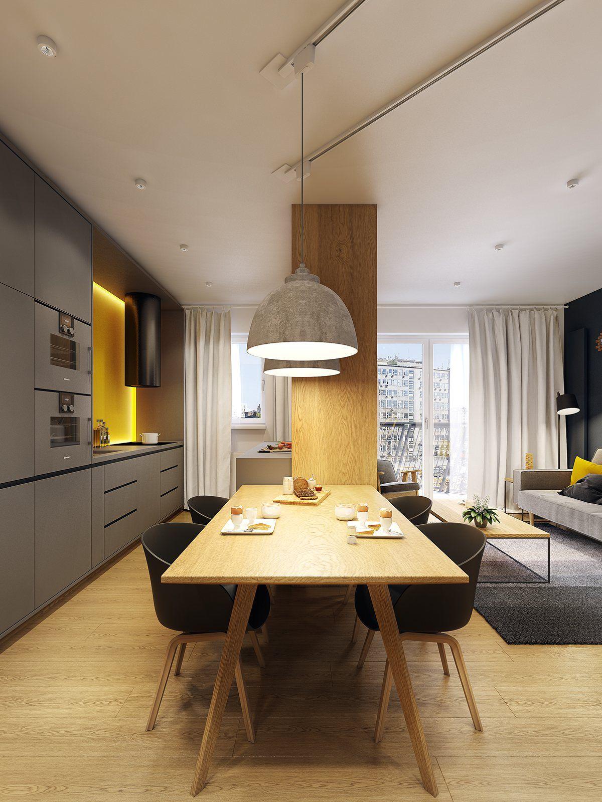 Appartement moderne scandinave ing nieux for the home - Idee amenagement cuisine ouverte sur salon ...